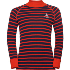 Odlo SUW Active Originals Warm Camiseta Manga Larga Cuello Tortuga Niños, poinciana/diving navy/stripes